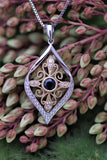 14k Two-Tone Blue Sapphire and Diamond Pendant