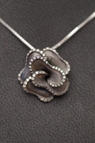 18k Gold and Diamond Rose Pendant w/black rhodium
