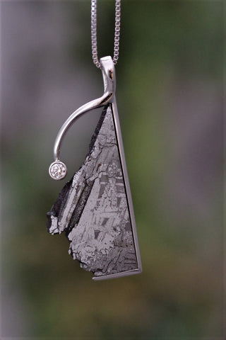 (Design Ideas) 14k White Gold Meteorite and Diamond Pendant