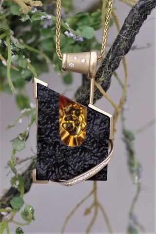 14k Yellow Gold Tektite and Citrine Pendant with Diamonds