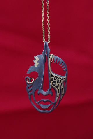 23.5k Yellow Gold and Sterling Silver Mask Pendant or Brooch