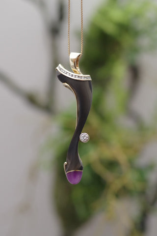 14k Yellow Gold, Marbled Onyx, Amethyst and Diamond Pendant