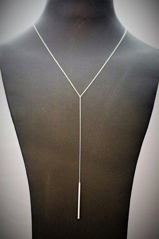 Sterling Silver Bar Drop Necklace