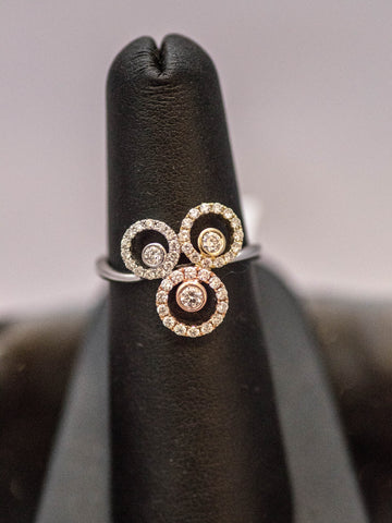 14k White Yellow and Rose Gold and Diamond Ring