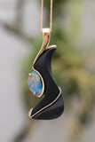 14k Yellow Gold Black Druzy and Australian Opal Pendant