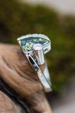 14k White Gold Green Sapphire and Diamond Ring