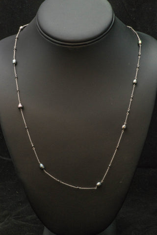 14k White Gold Pearl and Black Diamond Necklace