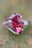 14K White Gold and Rhodolite Garnet Ring