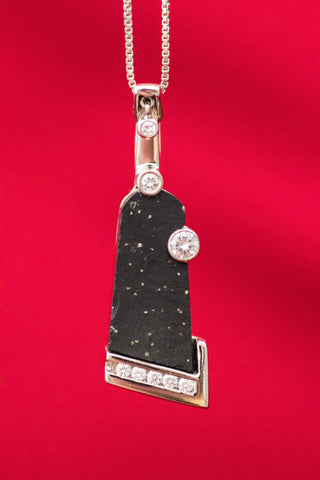 14k White Gold Slate and Diamond Pendant w/dancing diamond accent