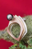 14k Tri-Color Gold Tahitian Pearl and Diamond Ring