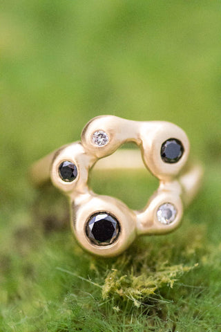 18k Yellow Gold Black and White Diamond Ring