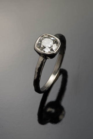 14k White Gold European Cushion Cut Diamond Ring