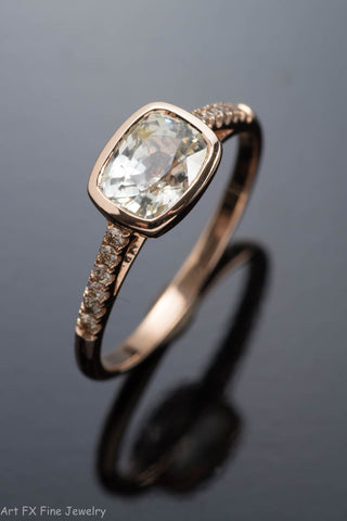 14k Rose Gold Yellow Sapphire and Diamond Ring