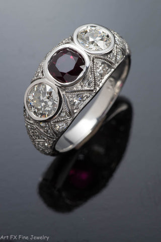 Platinum Vintage Style Ruby and Diamond Ring