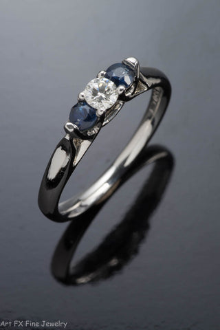 Platinum Sapphire and Diamond Ring