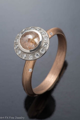 18k Rose Gold Raw Diamond Ring