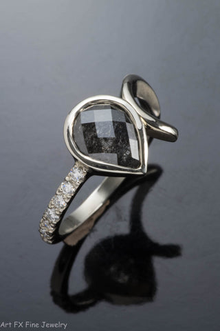 14k White Gold Rose Cut Pear Shape Diamond Ring