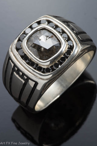 Sterling Silver Men's Raw and Black Diamond Ring