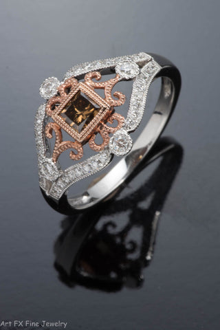 14K Two-Tone Gold Chocolate and White Diamond Ring