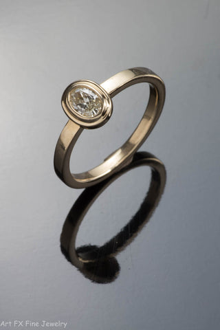 14k Yellow Gold Oval Diamond Ring