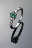 14k White Gold Faceted Emerald and Diamond Ring