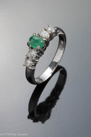 14k White Gold Emerald Cabochan and Diamond Ring