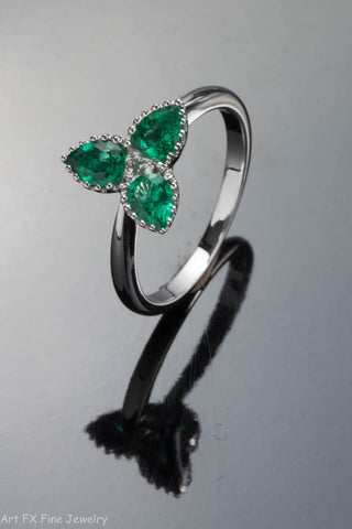 18K White Gold 3 Emerald and Diamond Ring