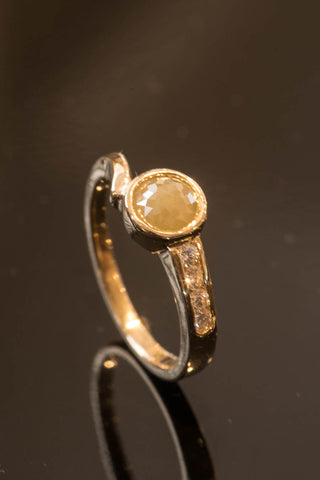 14k Yellow Gold Raw Yellow Diamond Ring