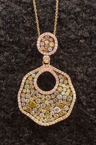 14k Rose Gold Pave' Diamond Pendant