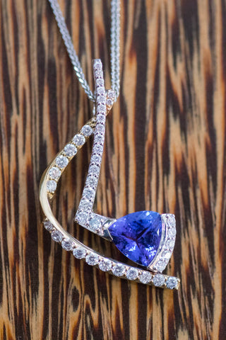 14k Two-Tone Gold Tanzanite and Diamond Pendant