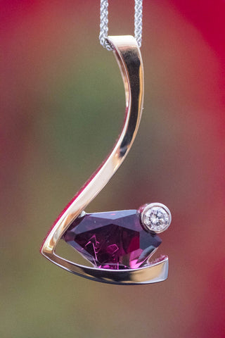 Two-Tone Gold Purple Garnet Pendant