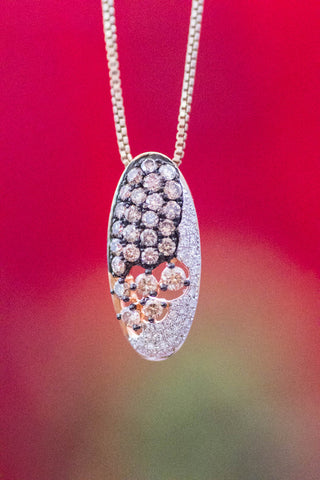 14k Yellow Gold Multi-Colored Pave' Diamond Pendant