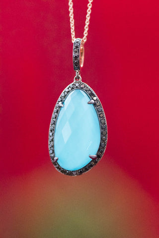 14k Yellow Gold Turquoise Black Diamond and Faceted Quartz Pendant