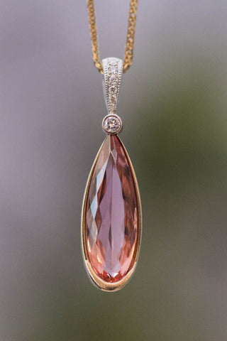 18k Gold Imperial Topaz and Dimond Pendant
