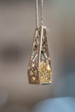 14k White Gold and Golden Beryl Pendant