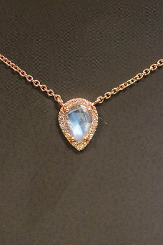 14k Rose Gold Moonstone and Diamond Pendant
