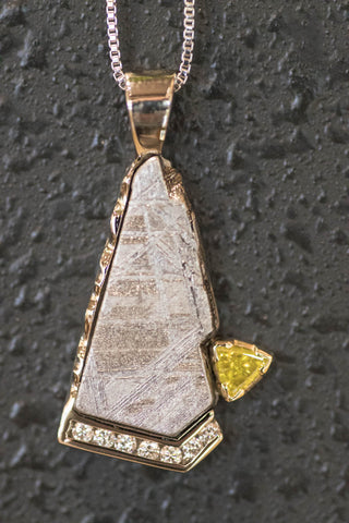 14k White Gold Meteorite and Diamond Pendant