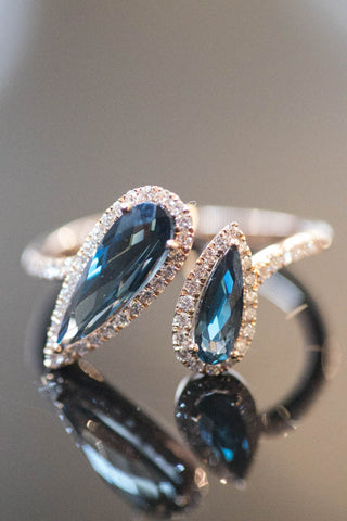 14k Rose Gold Blue Topaz and Diamond Ring