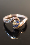 14k Rose Gold Rutilated Quartz Lapis and Diamond Ring