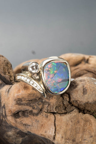 14k White Gold Black Opal Ring