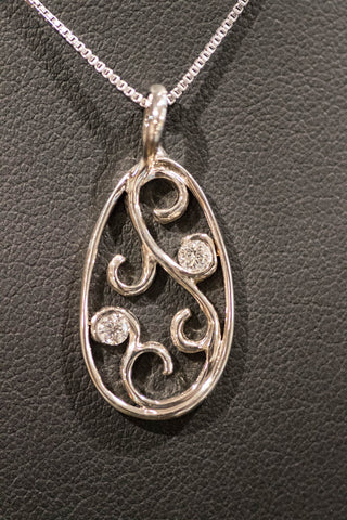 14k White Gold and Diamond Pendant