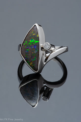 14k White Gold Australian Opal and Diamond Ring