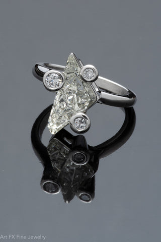14k White Gold Goshenite Beryl and Diamond Ring