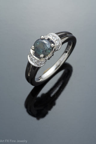 14k White Gold Alexandrite and Diamond Ring