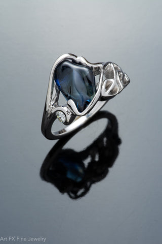 14k White Gold Freeform Sapphire Ring