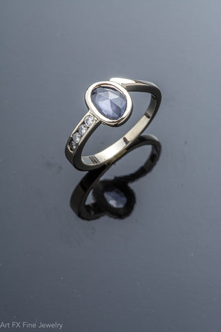 14k White Gold Sapphire and Dimond Ring