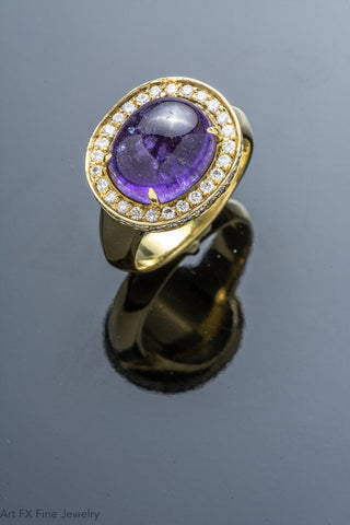 18k Yellow Gold Oval Purple Sapphire and Diamond Ring