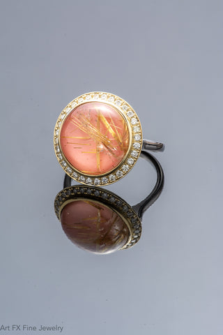 14k Yellow Gold Rutilated Quartz, Coral and Diamond Ring