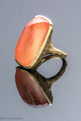 14k Yellow Hammered Gold Ring with Faceted Quartz over Coral