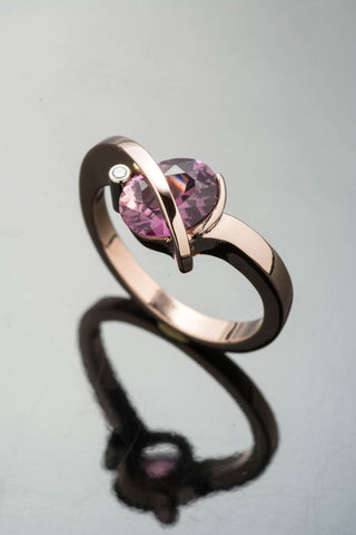 14k Rose Gold Pink/Purple Sapphire and Diamond Ring